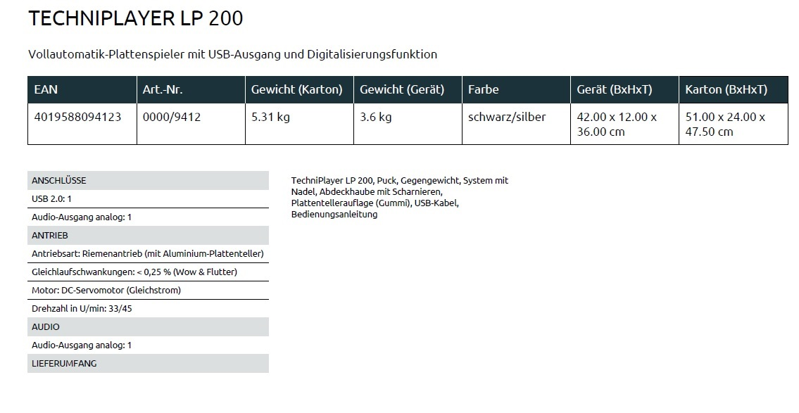 Datenblatt LP 200