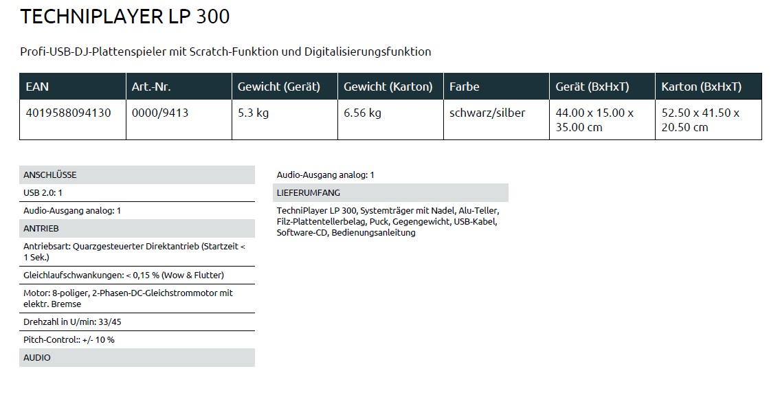 Datenblatt LP 300